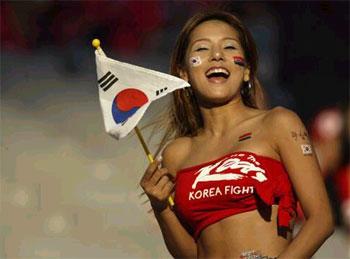 Korean girl cheering at the 2002 world cup
