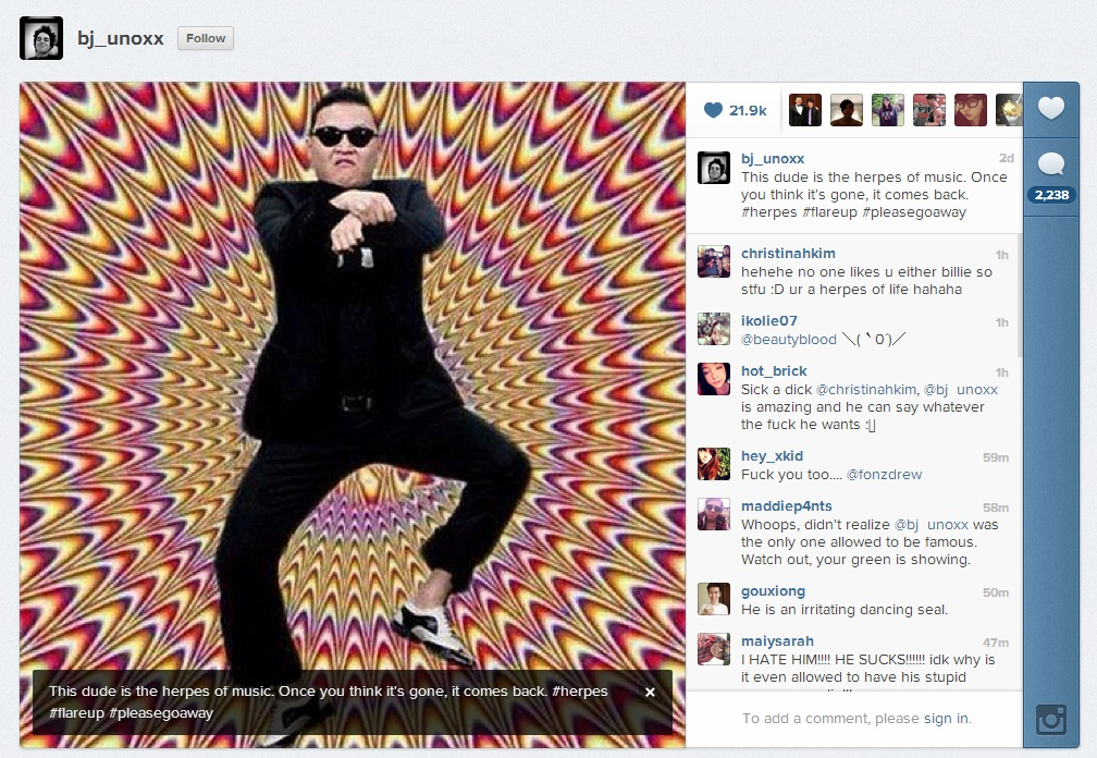 Screenshot of Billie Joe Armstrong Instagram