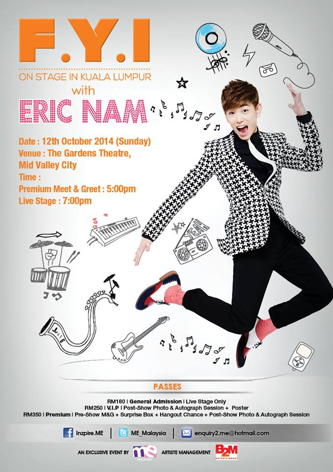 Eric Nam to meet fans in Malaysia this October