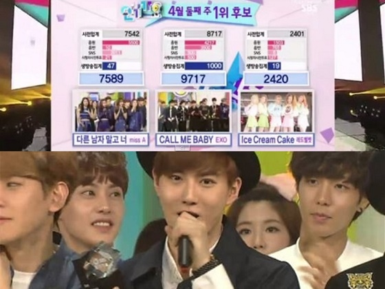 20150413_EXO_ Ranks_ No.1_ on_ SBS's_ Inkigayo_ with_ 'Call Me Baby'_1