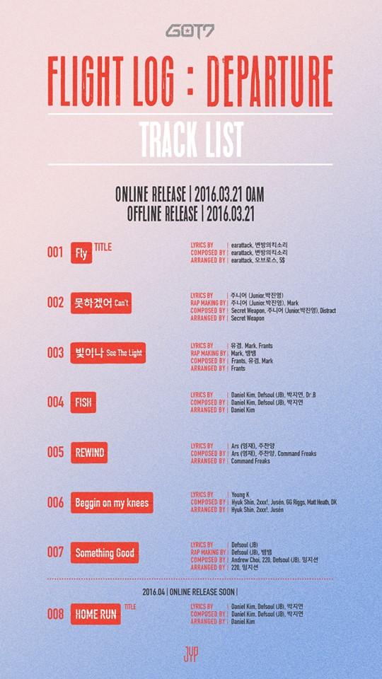 GOT7's tracklist for 'Flight Log: Departure'. Image Credit: GOT7 Official Facebook page