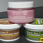 Amini Cereal and Green Tea Cleansing Pack, Amini Rose Water Hydration Facial Cream