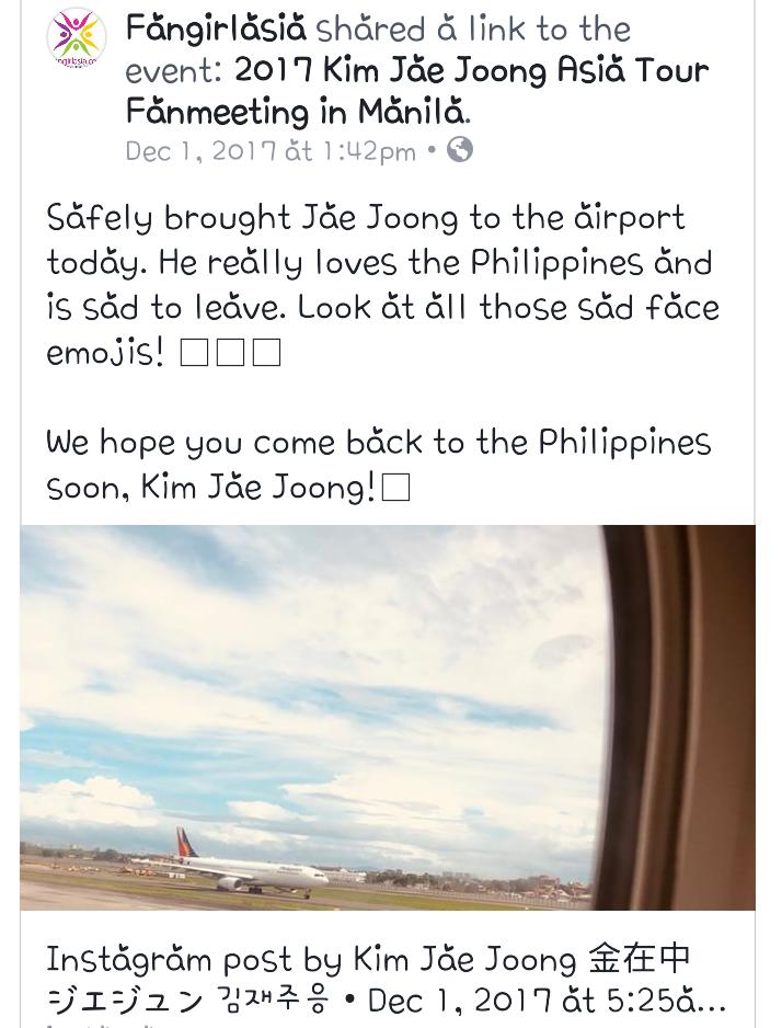 Kim Jae Joong, 2017 Kim Jae Joong Asia Tour Fan Meeting in Manila, Jae Joong in Manila Hangover