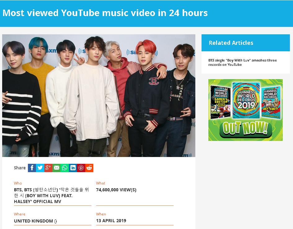 BTS Most Viewed MV