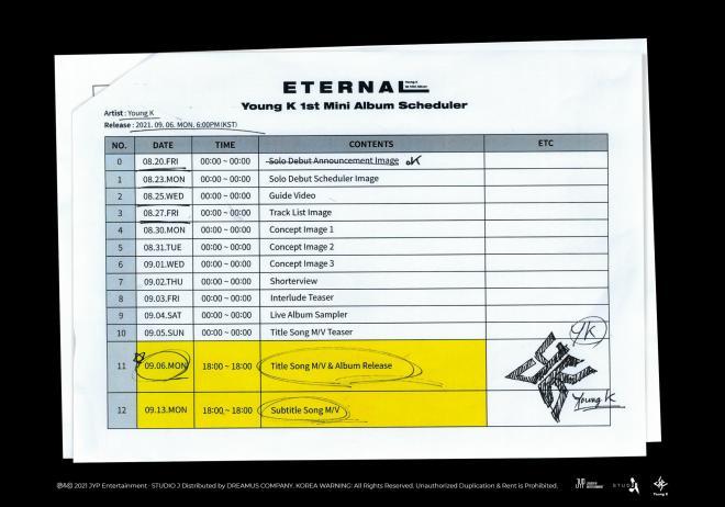 DAY6 Young K eternal scheduler